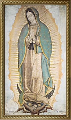 RELATED PRODUCTS -OFFICIAL IMAGE OF OUR LADY OF GUADALUPE 10 X 18 CANVAS, GOLD FRAMED | ShopMercy