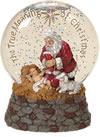 Kneeling Santa Glitter globe | ShopMercy