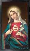MARY - IMMACULATE HEART OF MARY 10 X 18 CANVAS, BLACK FRAMED | ShopMercy