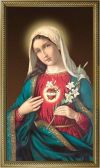 MARY - IMMACULATE HEART OF MARY 10 X 18, GOLD FRAMED | ShopMercy
