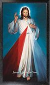 DIVINE MERCY - BLUE HYLA 10 X 18 CANVAS, BLACK FRAMED | ShopMercy