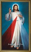 DIVINE MERCY - BLUE HYLA 10 X 18 CANVAS, GOLD FRAMED | ShopMercy