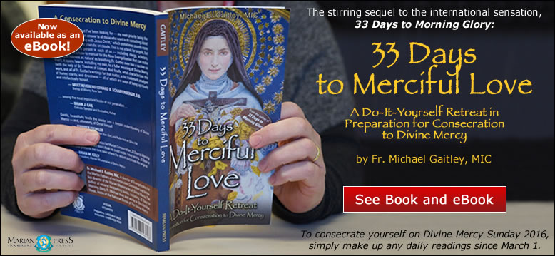 33 Days to Merciful Love: A Do-It-Yourself Retreat in Preparation for Consecration to Divine Mercy by Fr. Michael Gaitley, MIC.  The stirring sequel to the international sensation, 33 Days to Morning Glory.